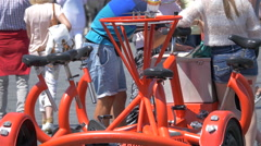 A red seven-seater bike in Prague Stock Footage
