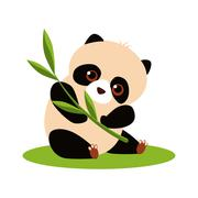 Stock Illustration of Cute Panda Eating Bamboo. Vector illustration