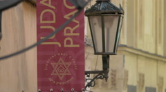 The Star of David on a small flag in Prague Stock Footage