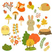 Stock Illustration of Autumn Forest Plants and Animals, Vector Illustration in Flat Style