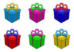 Boxes multi-coloured, square - stock illustration