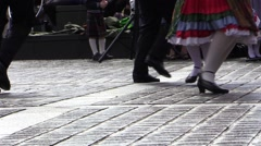 Traditional Bavarian parade. legs and feet. German folk dances. Stock Footage