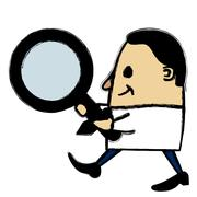 Businessman holding a magnifying glass Stock Illustration