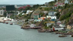Canada Newfoundland St. John's 058 outskirts houses in rough rock bay Stock Footage