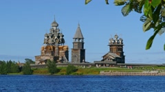 Old russian architecture on Kizhi island, 4k Stock Footage
