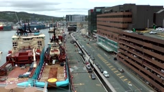 Canada Newfoundland St. John's 051 harbor district and shore street from above Stock Footage