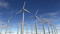 Animated wind turbines in a windfarm. Loop-able 4K Stock Footage