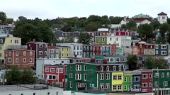 Canada Newfoundland St. John's 048 colorful houses at hiiside like toy bricks Stock Footage