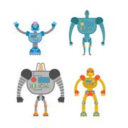 Robots Set . Space invaders Cyborgs. Iron colored robots. - stock illustration