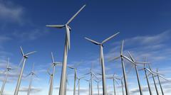 Wind turbines park or windfarm - stock illustration