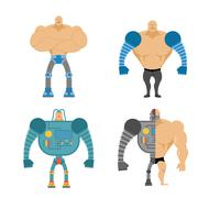 Set of Cyborgs. People with mechanical limbs. Robotic Bionic  body parts. Man Stock Illustration