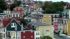 Canada Newfoundland St. John's 044 colorful living district from above Stock Footage