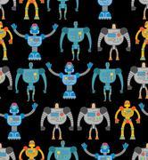 Robots seamless pattern. Cosmic cyborgs seamless pattern. Texture for baby ti Stock Illustration