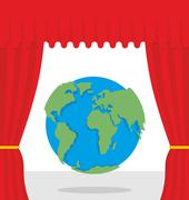 World scene. Red curtain opens Earth. Theatrical presentation by globe. Stock Illustration