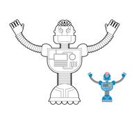 Space Robot coloring book. Cybernetic mechanism with artificial intelligence  - stock illustration