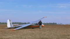 Scene with  gliders and pilots.. - stock footage