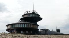 The Polish meteo observatory on the summit of Sniezka (Snezka) mountain Stock Footage