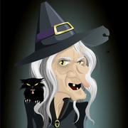 Ugly dark witch Stock Illustration