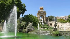 Golden statue and fountain in Barcelona  Stock Footage