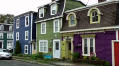 Canada Newfoundland St. John's 013 colorful houses with oriels and stylish roofs Stock Footage