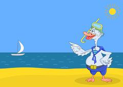Goose diver on a beach - stock illustration