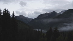 Time lapse of low valley forrest fog and clouds in the Colorado Rocky Mountains Stock Footage