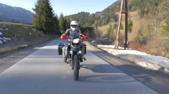 Motorbike rider rides his enduro in Spring Stock Footage
