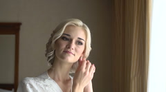 The Bride Wears Earrings - stock footage
