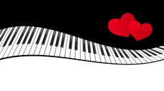 Piano template with hearts Stock Illustration