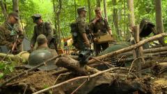 German soldiers building defenses Stock Footage