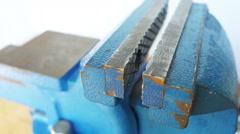Large Metal Blue Vise - stock footage