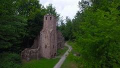 Old Castle Ruin Tower Flyover Stock Footage