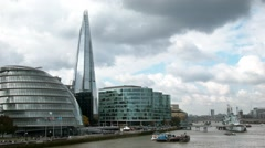The River Thames with City Hall and The Shard landmarks, London, UK Stock Footage