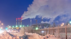 Power station in Siberia, Russia, timelapse video Stock Footage