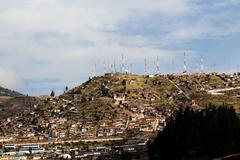 Numerous Communication Towers And Dishes Cusco Peru - stock photo