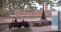 London, spring, Houses of Parliament from Albert Embankment Stock Footage