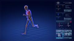 Human skeleton running in cyberspace. Stock Footage