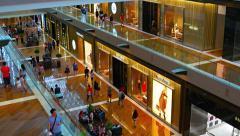 Beautiful and luxurious interior of the Shoppes at Marina Bay Sands Stock Footage