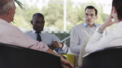 4k Confident male business group in negotiation meeting shake hands on a deal - stock footage