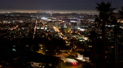 Time lapse of high angle view of downtown Los Angeles and Glendale, California Stock Footage