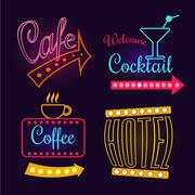 Neon Signs of Cafe, Hotel and Cocktail. Isolated Vector Illustration - stock illustration
