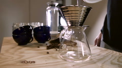Barista makes hand brew coffee compilation - stock footage