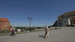 National Stadium seen from Castle Square Warsaw Stock Footage