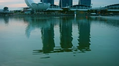 Marina Bay Sands, an intigrated resort and major tourist attraction - stock footage