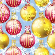 Stock Illustration of New Year pattern with Christmas ball. Sparkles and bokeh. Shiny and glowing