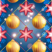 New Year pattern with Christmas ball. Sparkles and bokeh. Shiny and glowing - stock illustration