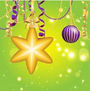 New Year greeting card. Christmas Ball with bow and ribbon. - stock illustration