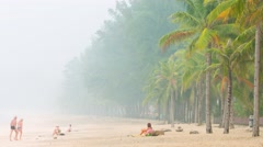 Indonesia fires causing smog in Thailand tourist islands Stock Footage