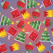 New year seamless pattern. Endless Christmas template - stock illustration