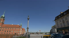Walking in Castle Square, next to Sigismund's Column, Warsaw Stock Footage